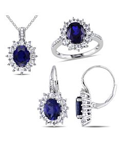 1/10 CT Diamond TW And 16 1/8 CT TGW Created Blue Sapphire Created White Sapphire Set With Chain Silver GH I3 JMS004731-0500