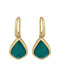 18k Yellow Gold Over Bronze Pear Cut Green Agate Doublet Dangle Earrings