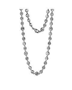 """Rhodium Plated Bronze Czech Crystal Bezel Set Necklace, 56"""""""