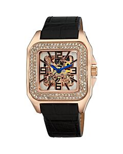 Womens-Leather-Rose-Gold-tone-Skeleton-Dial