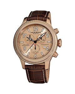 Men's Rose Tone Dial Brown Leather