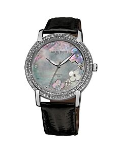 Women's Grey Mother of Pearl Dial Black Leather