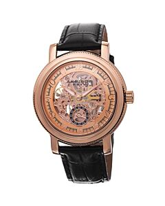 Men's Black Genuine Leather Skeletonized Dial