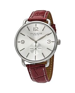Women's Burgundy Genuine Leather Silver-Tone Dial