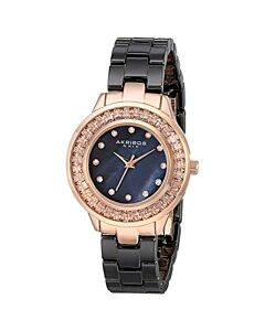 Women's Black Ceramic Black Mother Of Pearl Dial