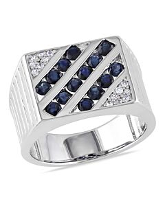 Amour Sterling White And Blue Sapphire Men's Ring - Size 11