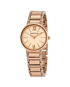 Women's Stainless Steel and Crystal Set Rose Gold-tone Dial