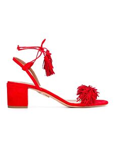 Aquazzura Ladies Wild Thing Fringe Sandals in Red, Brand Size 36.5