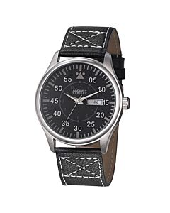 Mens-Genuine-Leather-Black-Dial