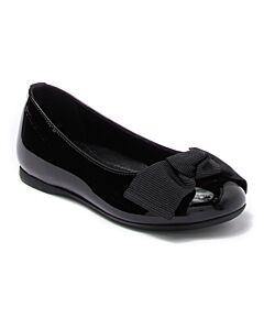 Burberry Kids Trixie Black Leather Bow Flat