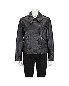 Burberry Ladies Black Leather Biker Jacket Size 6