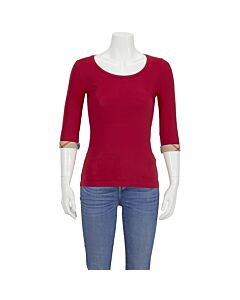 Burberry Ladies T-Shirt Solid Bright Red 3, 4 Slv Rll Cuff Size Small