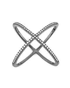 "Diamante Sterling Silver Black Rhodium CZ ""X"" Ring"