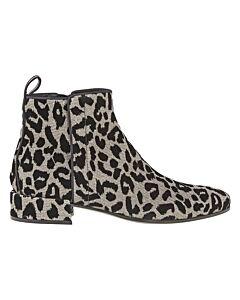 Dolce & Gabbana Ladies Soft Silver, Black 30 Bootie Tonal Leo Glit Size 35