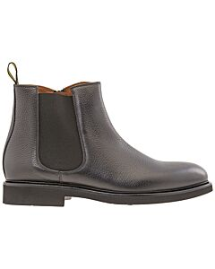 Doucals-Mens-Booties-Black-Chelsea-Zip-Grain-Calf,-Brand-Size-41--US-Size-8-