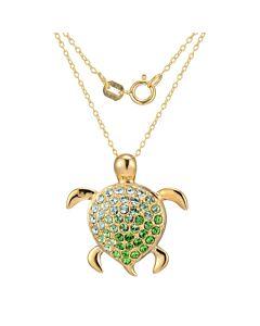 """Ellie Byrd 18k Gold Plated Sterling Silver Swarovski Crystal Turtle Pendant, 18"""""""