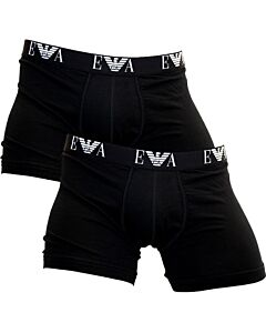 Emporio Armani Men's Black Stretch Boxers (2Pack), Brand Size Medium