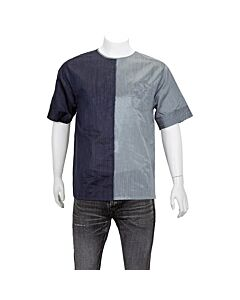 Emporio Armani Men's Woven Shirts Navy, Gray Mix Fabric Woven Tee Size Large