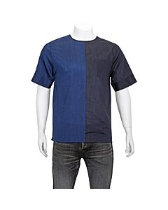 Emporio Armani Men's Woven Shirts Navy Mix Fabric Woven Tee Size Medium
