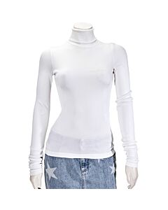 Filles A Papa Ladies Knit Tops White Jersey Ribbed High-Necked