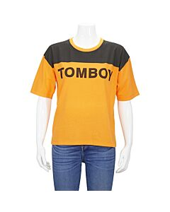 Filles A Papa Ladies Orange/Black Jersey T-Shirt With Tomboy, Brand Size 1