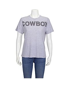 Filles A Papa Ladies T-Shirt Gray Distressed Cowboy Print Size 1