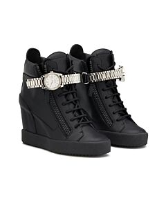 Giuseppe Zanotti Black Watch Strap Wedge Sneakers, Brand Size 35