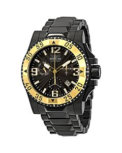 Men's Excursion Chronograph Black Ion-plated Stainless Steel Black Dial