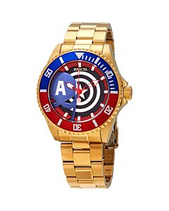 Men's Marvel Stainless Steel Black, Red and Blue Dial