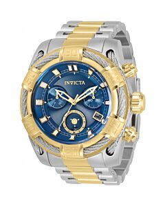 Men's Bolt Chronograph Stainless Steel with Silver-tone Cable Wire Accent Blue Dial