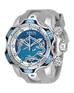 Men's NFL Chronograph Silicone Silver and Light Blue (Detroit Lions) Dial Watch