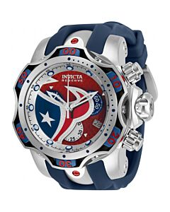 Men's NFL Chronograph Stainless Steel and Silicone and Aluminium Silver and Blue and Red Dial Watch