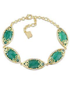 Julianna B Duchesse Green Onyx Diamond Yellow Gold-Plated Sterling Silver Bracelet