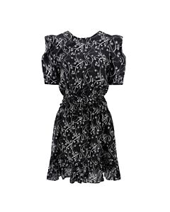 Kenzo Black Floral Ruched Dress, Brand Size 38