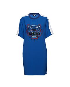 Kenzo Ladies Blue Crepe Tiger Dress, Brand Size Small