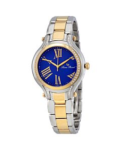 Elisia Two-Tone Stainless Steel Blue Dial Crystal Accents
