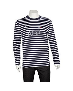 Maison Kitsune Men's Fox Logo Striped Shirt Size Small