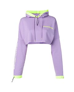 Marcelo Burlon Ladies Purple Oversized Cropped Sweatshirt, Brand Size Medium