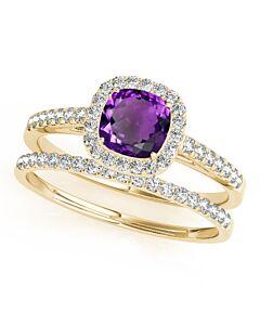 Maulijewels 10K Yellow Gold 1.25 Carat Cushion Cut Amethyst And Diamond Bridal Set Ring