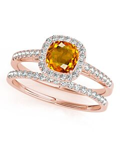 Maulijewels 1.25 Carat Cushion Cut Citrine And Diamond Bridal Set Ring in 10K Rose Gold
