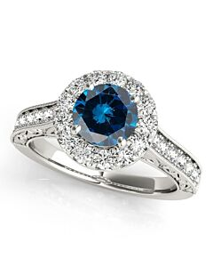 Maulijewels 1.40 Carat Round Shape Blue And White Diamond Ring in 14K White Gold