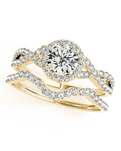 Maulijewels Halo Diamond Engagement Bridal Ring Set in 14K Solid Yellow Gold with 0.50 Carat diamonds
