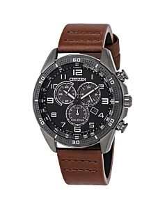 Mens-AR-Chronograph-Leather-Black-Dial