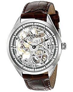 Men's Brown Crocodile Leather Silver Skeleton Dial