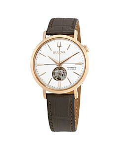 Mens-Classic-Leather-Silver-White-Open-Heart-Dial