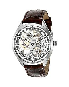 Mens-Crocodile-Leather-Silver-Skeleton-Dial