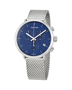 Mens-High-Noon-Chronograph-Stainless-Steel-Mesh-Blue-Dial