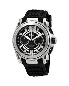 Mens-King-Chronograph-Silicone-Black-and-Silver-Dial