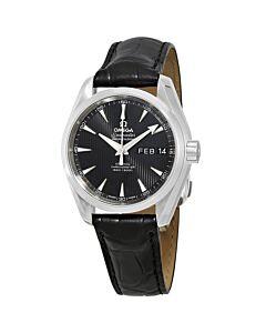 Men's Seamaster Aqua Terra (Alligator) Leather Black Dial