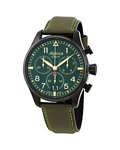 Mens-Startimer-Pilot-Chronograph-Leather-Military-Green-Dial